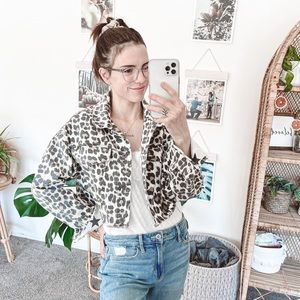Dimora Cropped Leopard Print Denim Jacket